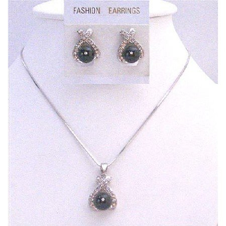 BRD973 Stunning Stylish Black Pearls Diamate Pendant & Earrings Set Bridemaids Jewelry Set