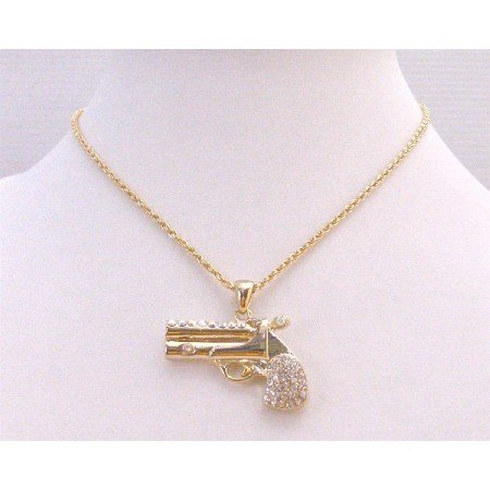 HH241 Pendant Fully Embedded With Simulated Diamond Gun Pendant Necklace