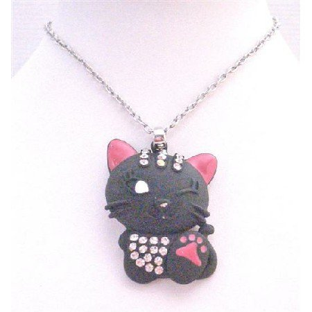 HH240 Pendant Embedded w/Diamanted On Body & Head Cat Pendant Necklace