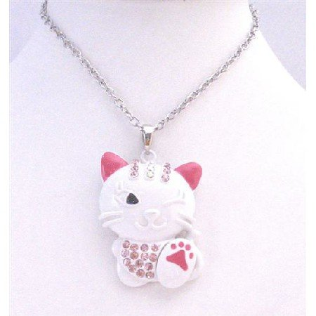 HH245 Fuschia Painted & Fuschia Crystals On Head & Body Naughty Cat Pendant Necklace