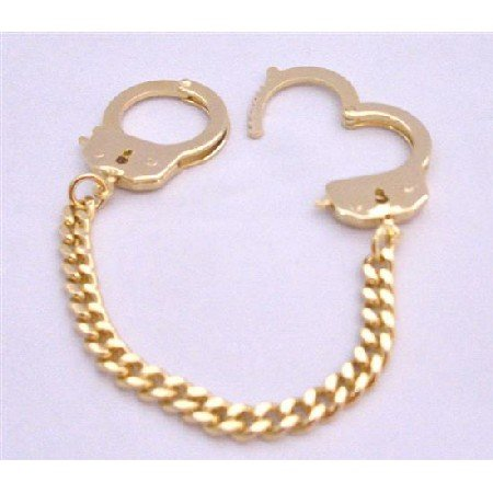 HH250  Handcuff Bracelet Striking Stunning Gold Bracelet Thick Chained Bracelet Hand Cuff