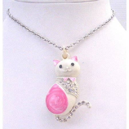 HH236 Sweet Pretty Cat Pendant Pink & White w/Sparkling Diamante ON Body & Tail