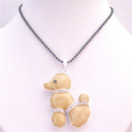 HH232  Poodle Pendant Necklace Black Beaded Long Necklace Animal Pendant Necklace