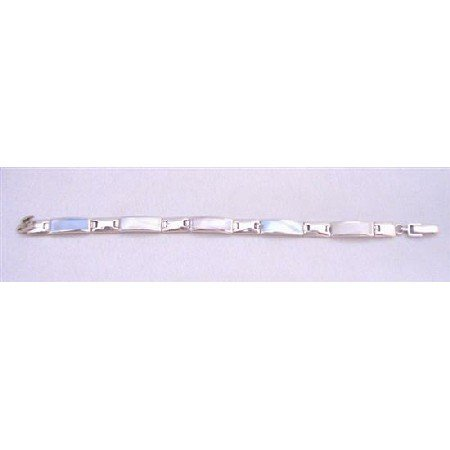 BR101 Rectangle Link Bracelet in Blue Opal Pink Mother of Pearls Authetic Genuine Sterling Silver