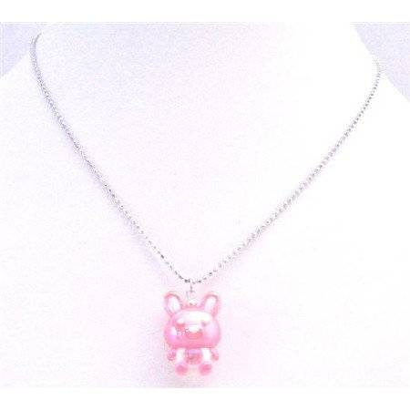 UNE188  Easter Jewelry Rabbit Pendant Easter Bunny Rabbit Cute Pink Rabbit Pendant