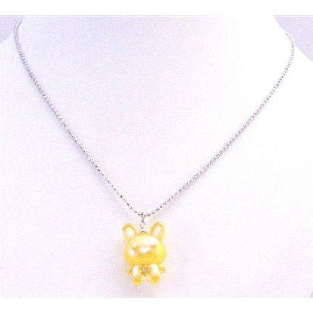 UNE190  Easter Bunny Rabbit Pendant Jewelry Holiday Yellow Cute Rabbit Pendant Necklace