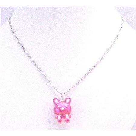 UNE186 Bunny Rabbit Easter Necklace Fuschia Bunny Very Cute Pendant Necklace