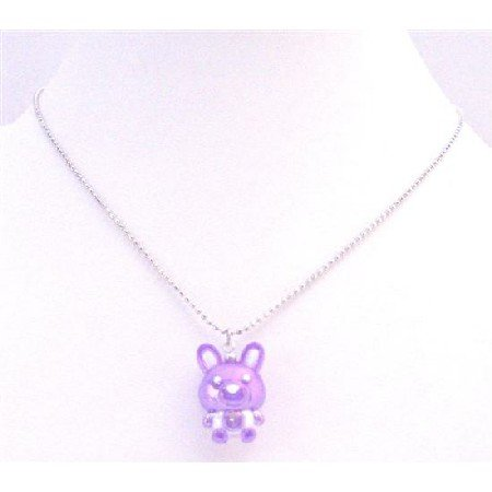 UNE189  Special Holiday Necklace Easter Bunny Rabbit Pendant Purple Enamel Pendant Necklace