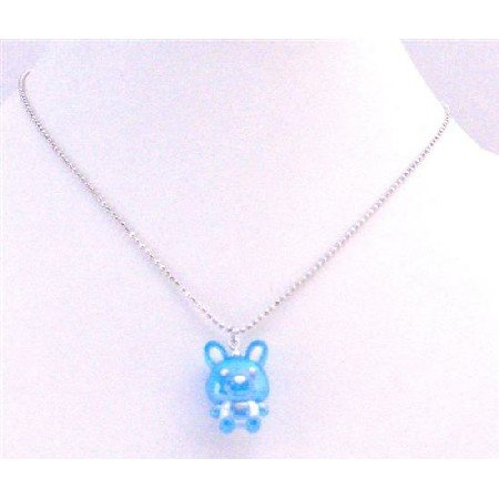 UNE185 Easter Bunny Rabbit Pendant Blue Enamel Pendant Silver Plated Chain Necklace