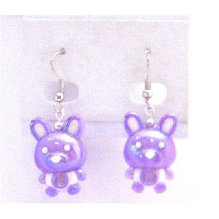 UER364 Adorable Cute Fancy Purple Bunny Rabbit Earrings Easter Bunny Rabbit Earrings