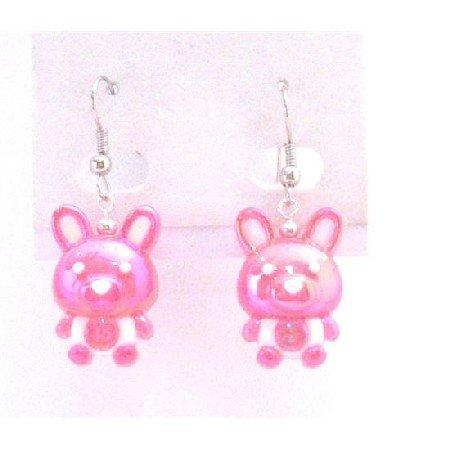 UER361  EASTER Bunny RABBIT Dangle Pierced EARRINGS Fuschia Bunny Rabbit Earrings Jewelry