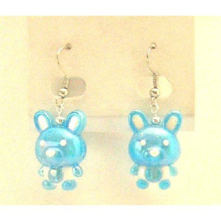 UER360  Easter Bunny Rabbit Earrings Jewelry Enameled Blue & White Cute Bunny Earrings