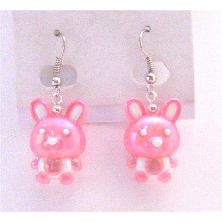 UER363  Pink Bunny Rabbit Easter Enameled Pink Bunny Holiday Jewelry