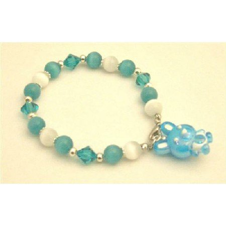 TB901 Easter Day Bracelet Cat Eye White Green BlueZircon Austrian Crystals Bracelet