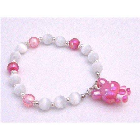 TB902  Fuschia Bunny Dangling Cute Adorable Easter Day Bracelet White Cat Eye Bracelet