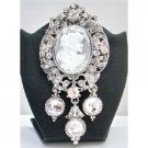 B374 Brooch Sliver Framed Fully Encrusted w/Simulated Diamond & Dangling Silver Lady Cameo