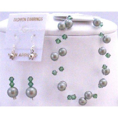TB833  Bracelet & Earrings Jewelry Set Double Stranded Powder Green Pearls With Tumarine Crystals