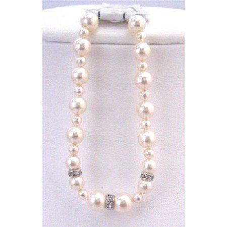 TB831 Handcrafted Bracelet Swarovski Ivory Pearls w/Silver Rondells Sparkles like Diamond Spacer