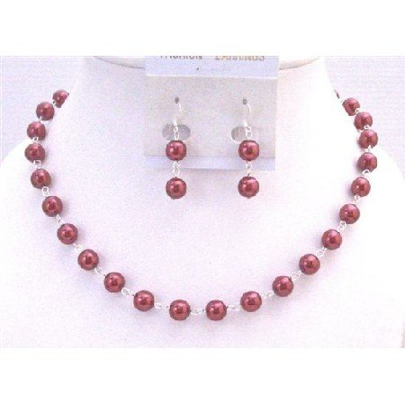 NS681  Red Pearls Necklace Set Silver Plated Chain Bridal Wedding Affordable Jewelry Set