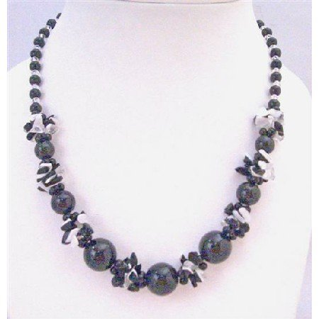 N799 Black Pearls Black White Nugget Chips Clear Glass Beads Necklace Under $10 Inexpensive Jewelry