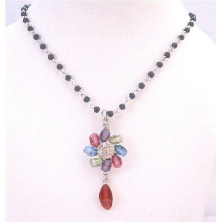 UNE156 Black Pearls Chained Necklace w/Multicolored Flower & Cubic Zircon Dangling Teardrop