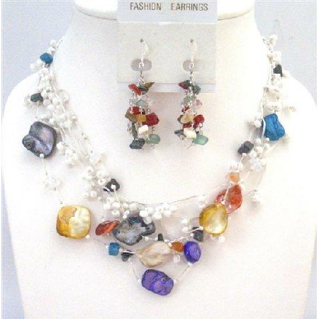 NS654 Glass Beads Onyx Turquoise Coral Moonstone Rose Quartz Beautiful Necklace Set