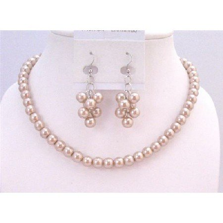 NS624 Bridal Bridemaides Champagne Pearls Necklace Set W/ Bunch Of Grape Earrings