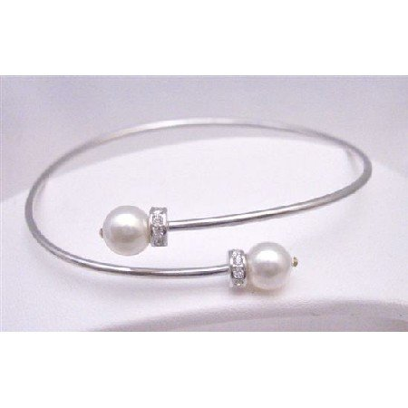 TB760 Cuff Silver Bracelet w/Swarovski White Pearls & Spacer Silver Rondells Sparkle Like Diamond
