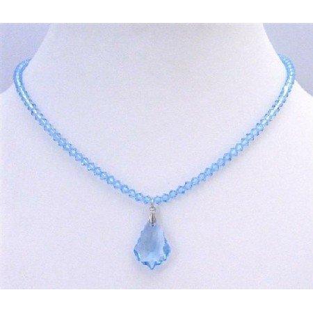 BRD881  Aquamarine Swarovski Briollette Pendant Aquamarine Crystal Necklace