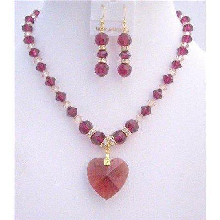 BRD805 Ruby Swarovski Crystals Necklace Set w/Golden Shaodow Swarovski & Ruby Crystals Heart