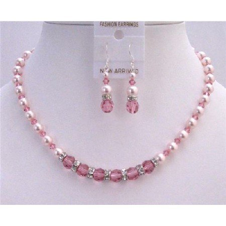 BRD802 Bridal Jewelry Set Rose Crystals Rose Pearls Genuine Swarovski Pearls Crystals Necklace Set