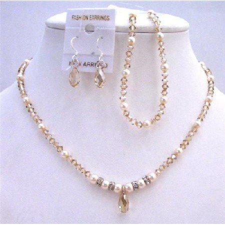 BRD800  Ivory Pearls & Golden Shadow Swarovski Crystals Bridal Jewelry Set