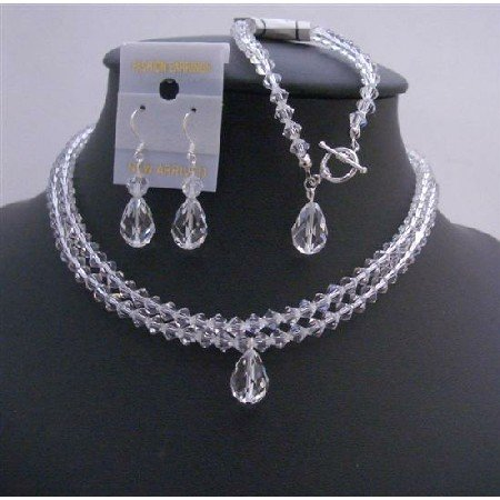 BRD760  Clear Crystals Double Stranded Bridal Jewelry Set w/ Top Drilled Teardrop Necklace Set