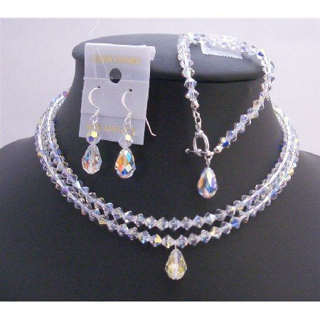 BRD755 Double Stranded AB Crystals Jewelry Set w/Top Drilled Teardrop AB Crystals Necklace Set