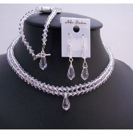BRD754  Bridal Clear Crystals Teardrop Double Stranded Jewelry Set Clear Crystals Necklace Set