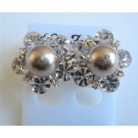 ERC474  Bronze Pearls Stud Earrings w/ Cubic Zircon Stud Earrings