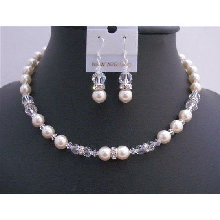 BRD738  Bridal Jewelry Set Ivory Pearls Clear Crystals w/ Silver Rondells Handmade Necklace Set