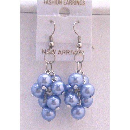 U068  Beautiful Blue Pearls Earrings Aquamarine Pearls Earrings