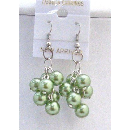 U065  Green Pistachu Pearls Earrings
