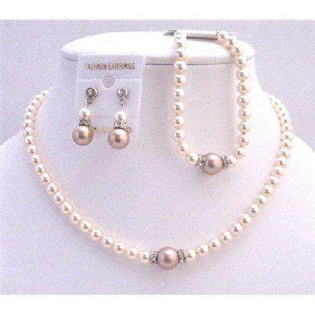 BRD727 Complete Set Necklace Earrings & Bracelet Bridal Jewelry Set Ivory & Champagne Pearls