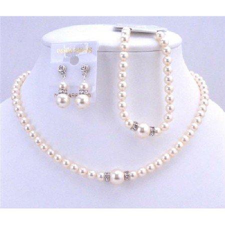 BRD717 Complete Set Necklace Earrings & Bracelet Bridal Swarovski Ivory Pearls Jewelry