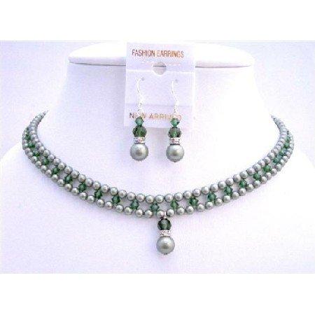 BRD707 Powder Almond Green w/Tumarine Green Crystals Jewelry Set Handmade Bridal Necklace Set