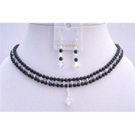 BRD704  Black Swarovski Pearls Necklace Set w/ AB Crystals Bridal Jewelry Set