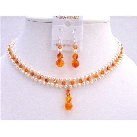 BRD703 Fire Opal Crystals Drop Down & Earrings Necklace Set Bridal Jewelry Set
