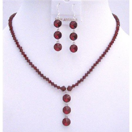 NSC609 Swarovski Siam Red Handmade Crystals Jewelry Set w/ Drop Down Jewelry Set