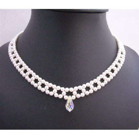 BRD681 Bridal White Pearls Choker Necklace w/ AB Crystals Teardrop Necklace Handcrafted