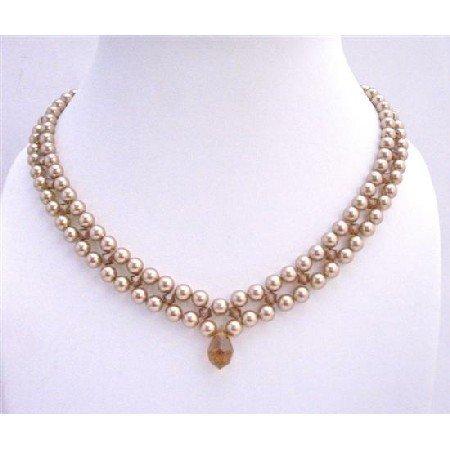 BRD680 Swarovski Bronze Pearls & Smoked Topaz w/ Smoked Topaz Crystals Necklace Wedding Necklace