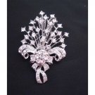 B167  Sparkling Bouquet Diamond Brooch Fully Embedded w/ SIMULATED Diamond
