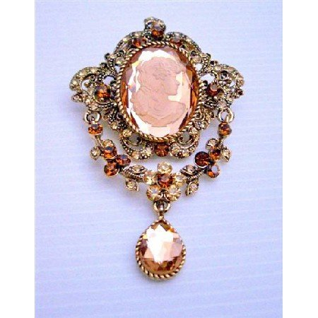 B158 Victorian Cameo Lady Brooch Antique Gold Copper Brooch w/ Smoked Topaz Dangling Brooch
