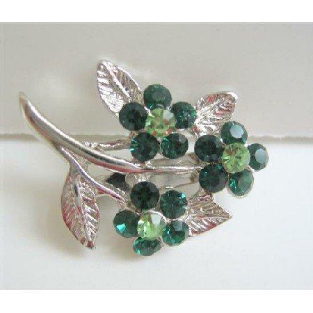 B047  Women Crystals Fashion Flower Brooch w/ Silver Plated Stem & Leaf Pin Brooch